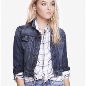 EXPRESS Cropped Denim Button Jean Jacket